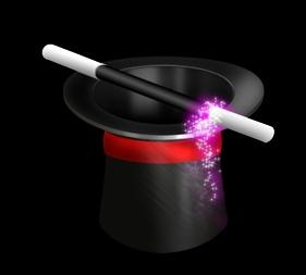 chapeau et baguette magique pour spectacle de magie